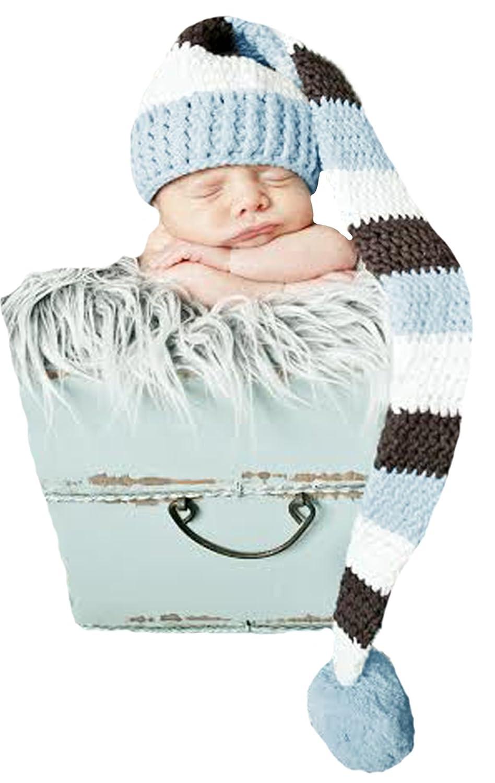 Melondipity 'sブルーブラウン&ホワイトストライプストッキングキャップwith Pom Baby Boys (新生児)   B00KWG8ZZY
