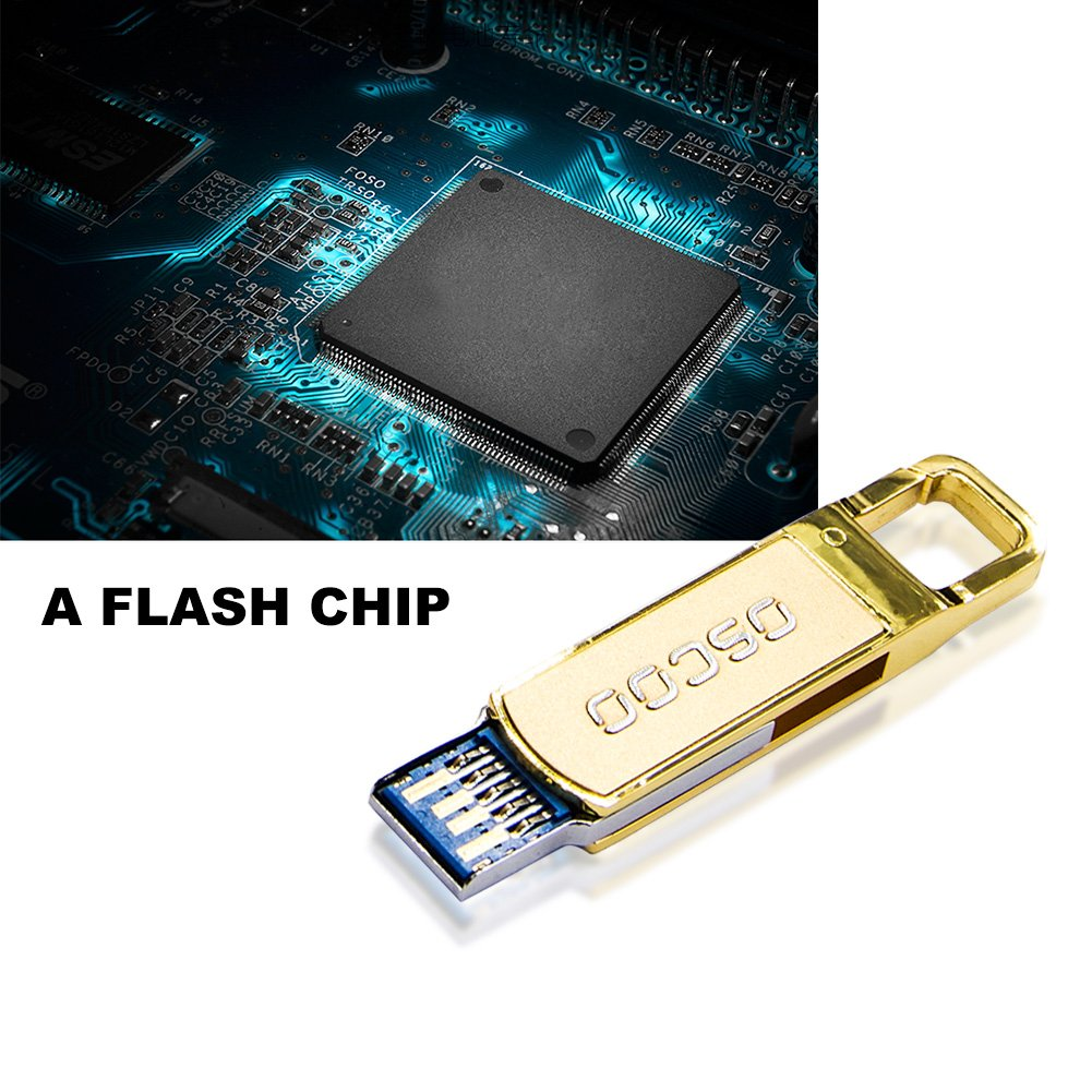 OSCOO 32GB Water-proof USB3.0 memory stick for USB Laptop Desktop Computers Windows XP / 7 / 8- Gold