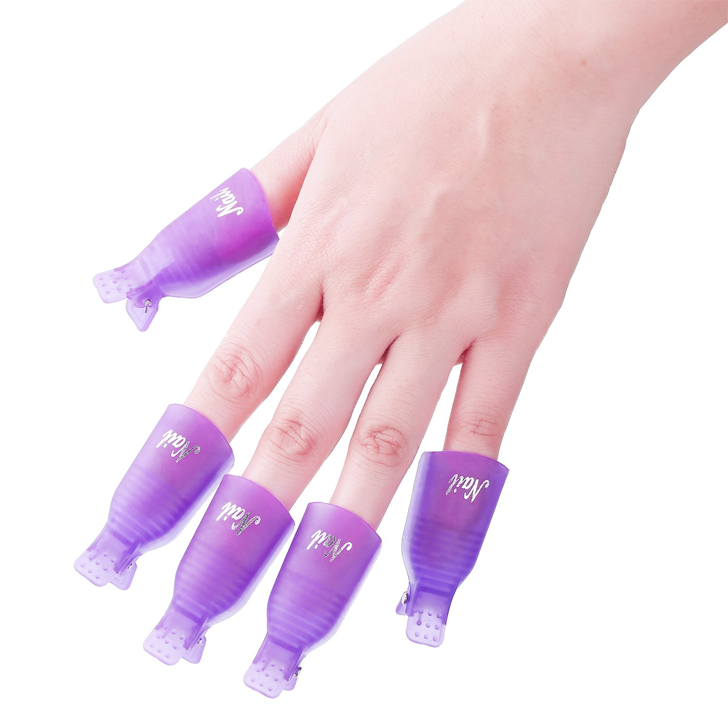 eBoot Nail Cap Clips UV Gel Polish Remover Wrap 10 Pack with 420 Pack Nail Wipe Cotton Pads (Purple)