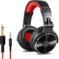 OneOdio Over Ear Headphone, Wired Bass Headsets 50mm Driver, Foldable Lightweight Headphones Shareport Mic Recording Monitoring Podcast PC TV – (Red)