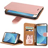 Galaxy J3 Pro Case (2017), SOWOKO Book Style Leather Wallet Case Flip Folio Protection Cover with Credit Card Slots and Kickstand for Samsung Galaxy J3 Pro 2017 (Rose Gold)