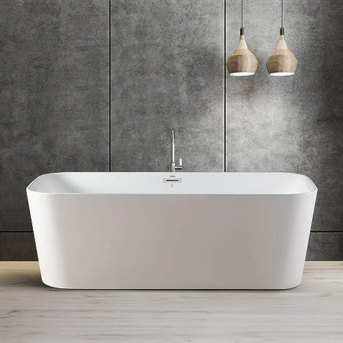 FerdY Maui 67″ Freestanding Bathtub Elegant Freestanding Soaking Bathtub