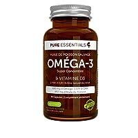 Pure Essentials Huile de Poisson Sauvage Oméga-3 Super Concentrée & Vitamine D3, 660 mg EPA & DHA, 1-par-jour, 60 capsules