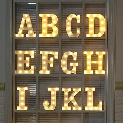 Sunei.f Letras de pl/ástico Blancas decoraci/ón de Luces Luces LED para Letras del Alfabeto
