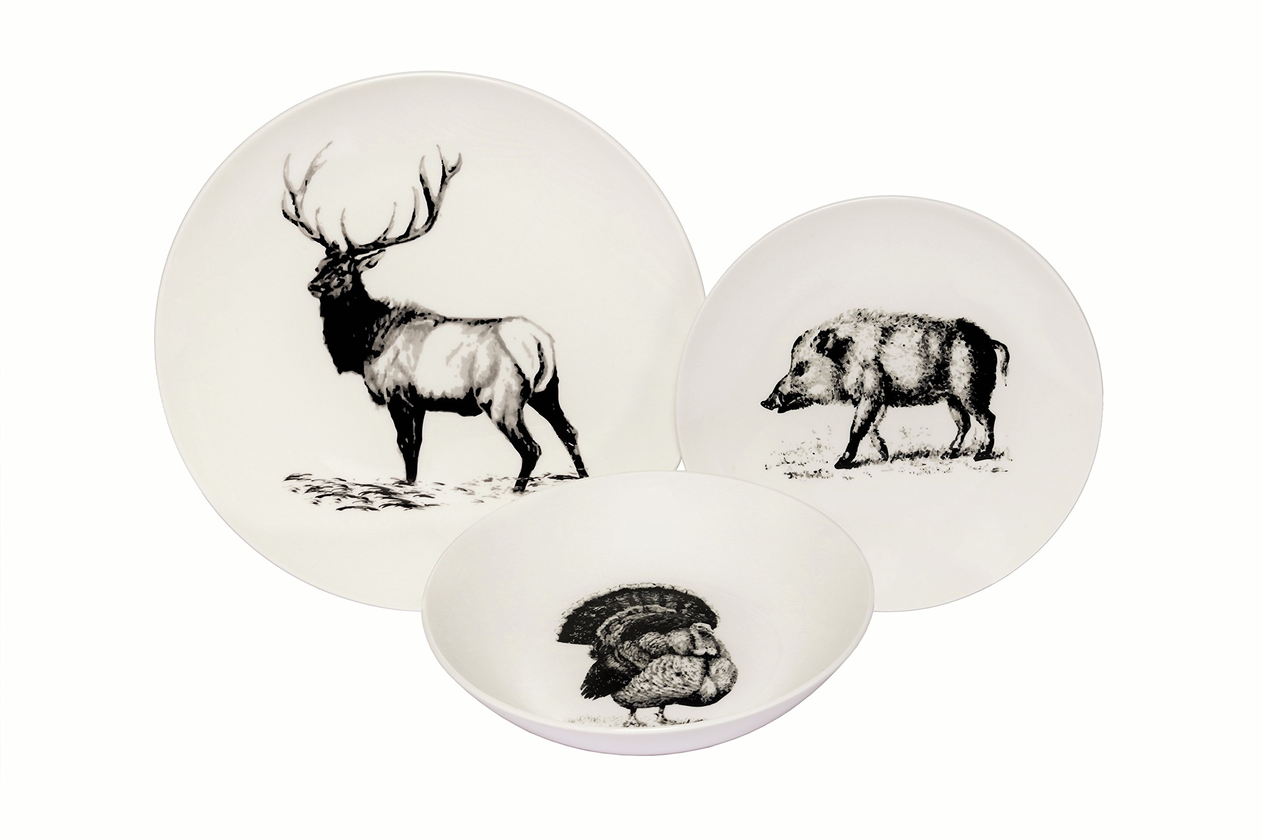Melange Coupe 18-Piece Porcelain Dinnerware Set (Wild Animals) | Service for 6 | Microwave, Dishwasher & Oven Safe | Dinner Plate, Salad Plate & Soup Bowl (6 Each)