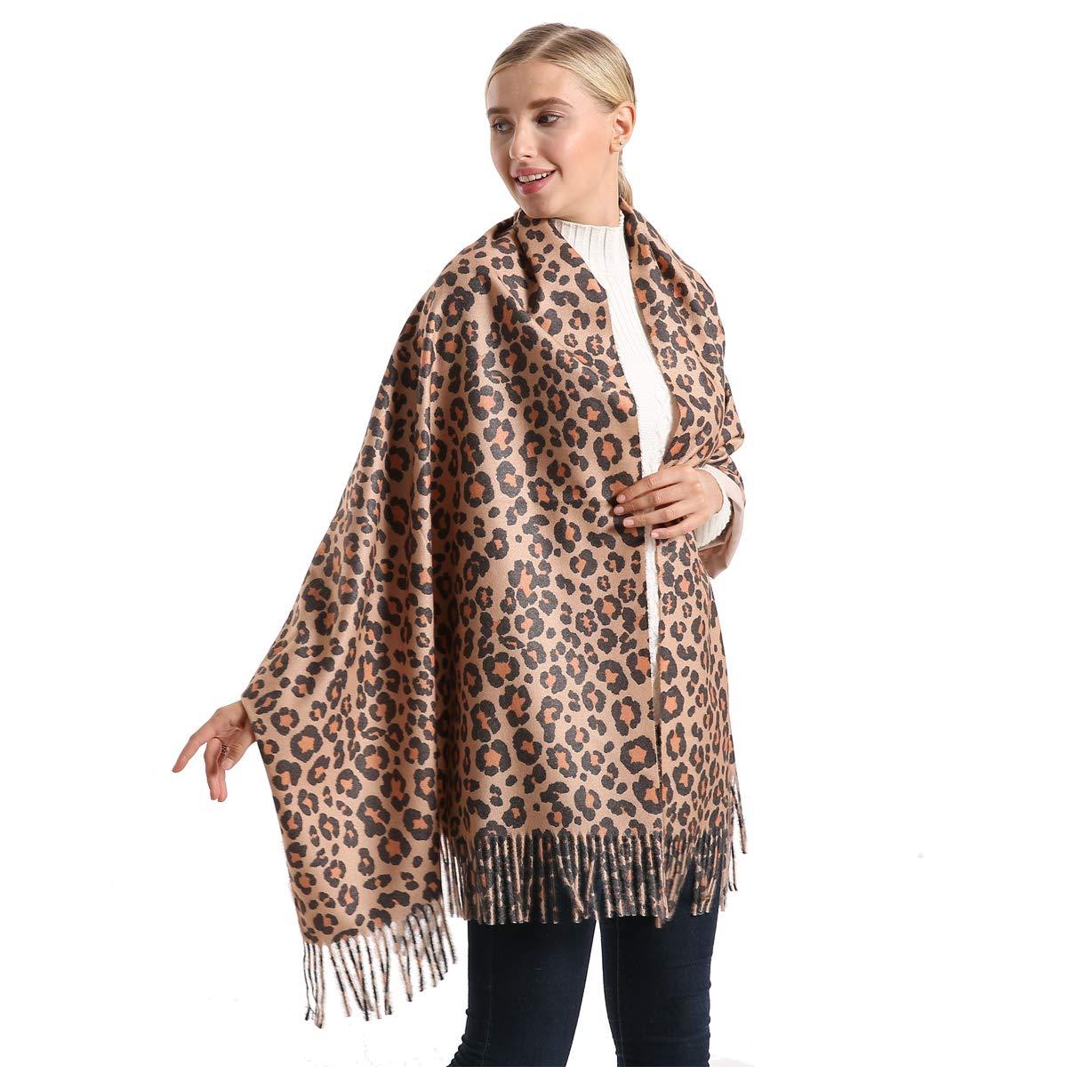 Womens Winter Leopard Scarf With Tassels Animal Print Oversized Premium Fashion Shawl Wrap Scarves