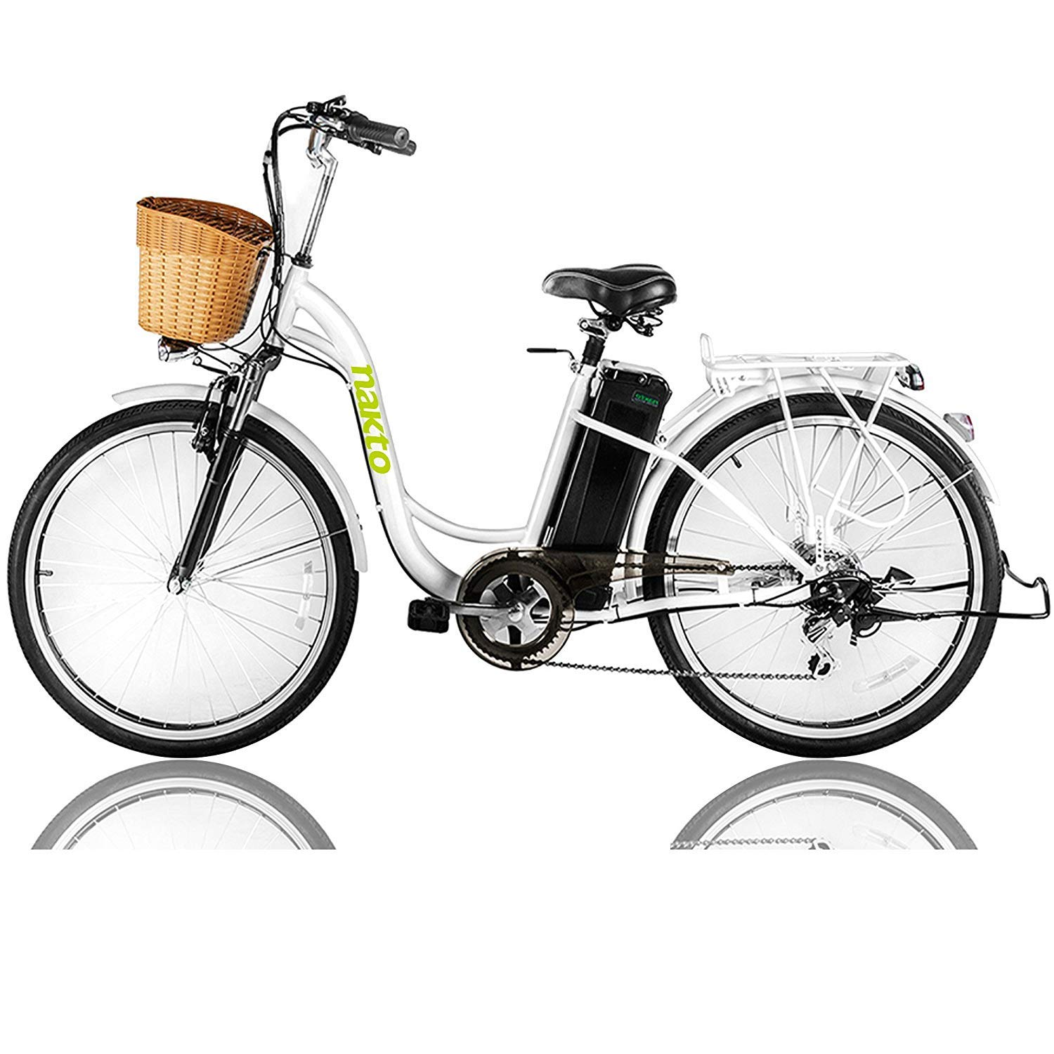ed77edd3b18 NAKTO Electric Bicycle Sporting Shimano 6 Speed Gear EBike with Removable  36V10A Lithium Battery