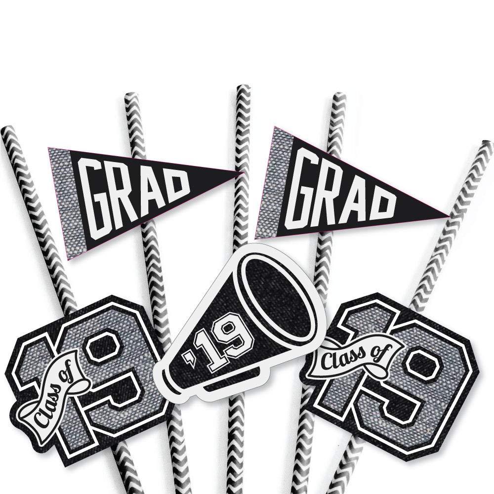 2019 Graduation Party Striped Decorative Straws All Star Grad Paper Straw Decor Set of 24