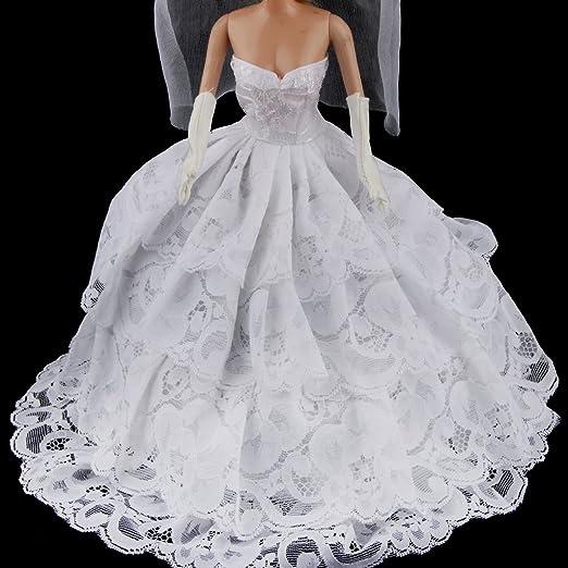 Amazon.es: Vestido de novia blanco para BARBIE, incluye velo y guantes: Juguetes y juegos