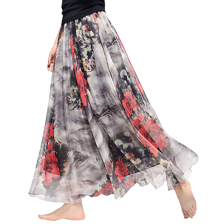 StarTreene Women Floral Long Skirts Summer Maxi Dress Beach Dress Ankle Length Grey red One Size