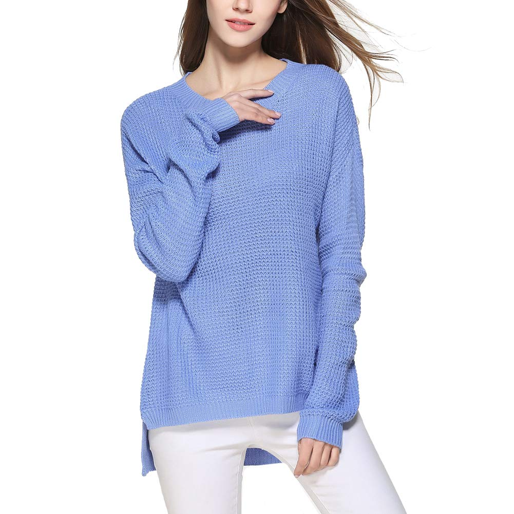 Oliveya Women Blue Loose Fit Pullovers Long Sleeve Knit Top Oversized Sweater XL