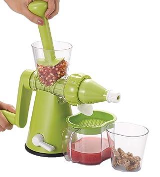 Lento frutas/verduras manual exprimidor Granada/germinado exprimidor + 2 tazas y filtro de almacenamiento: Amazon.es: Hogar
