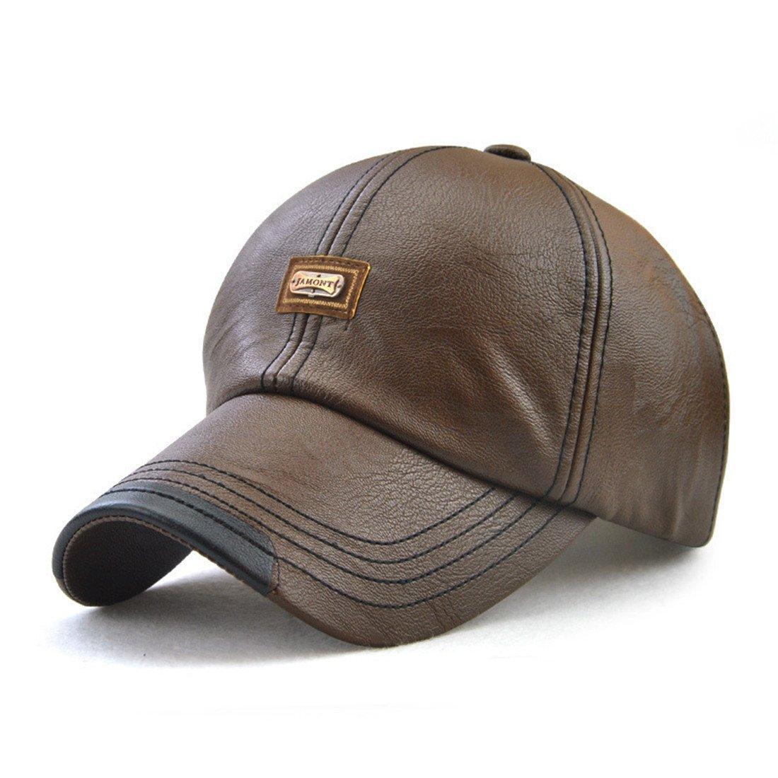 Roffatide Men's PU Leather Baseball Cap Dad Hat Strapback Autumn and Winter RT3022-1