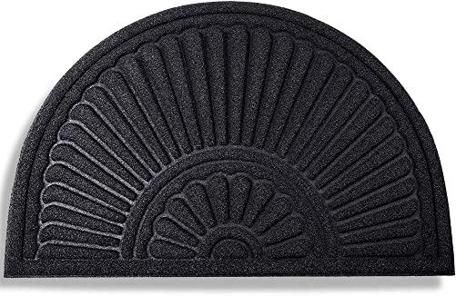 MIBAO Half Round Door Mat, Rubber Doormats Welcome Entrance Way Mat, Heavy Duty Semicircle Door mats, Non-Slip Durable Low-Profile Easy to Clean Waterproof Front Outdoor, 24 x 36 , Black