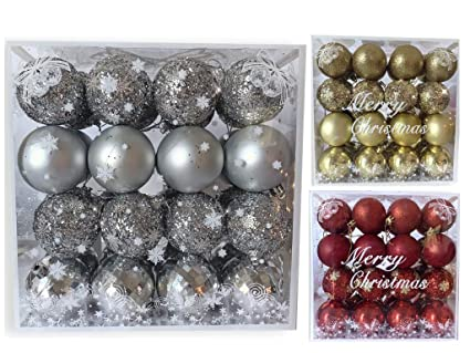 banberry designs silver christmas bulbs set of 32 assorted glittered xmas ball ornaments shatterproof