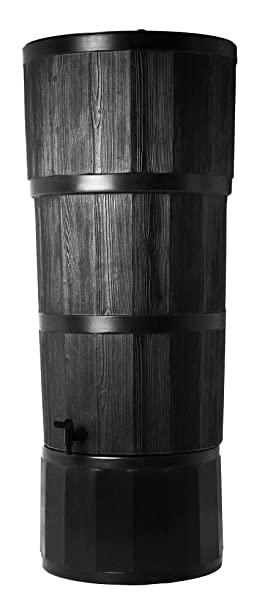 Noir Exterieur 150l Effet Bois Design Moderne Citerne Avec Support