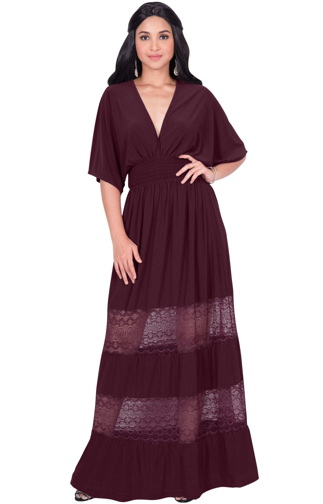 7cdf42046610 ... Sexy Summer Spring V-Neck Half Short Kimono Sleeve Sundress Lace Flowy  Casual Empire Waist Boho Bohemian Tall Beach Elegant Maxi Dress Gown, Maroon  Wine ...
