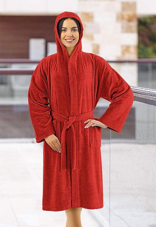 Banzaii Albornoz 100% Algodón con Capucha - Albornoz para Hombre y Mujer - Talla S Rojo: Amazon.es: Hogar