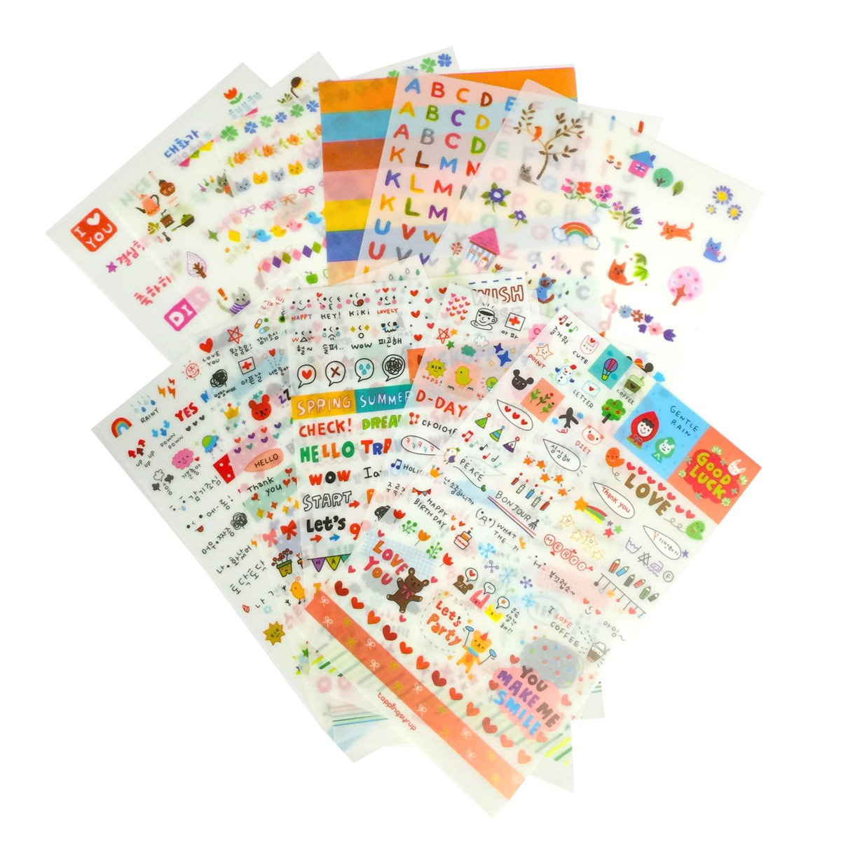 12 Daily Scrapbook Deco Craft Stickers for Girls Transparent Generic