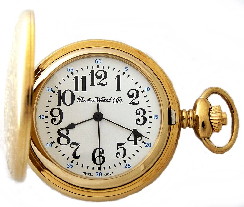 Dueber Watch Co Gold Plated Locomotive Railroad Pocket Watch with Swiss Movement