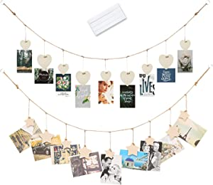 Hanging Photo Picture Display 30 Inch Twine with 9 Wooden Star & Heart Shape Clothespins & Removable Reusable Multipurpose Mounting Adhesive Tacky Poster Putty Dorm Room Wall Home Décor - 2 Sets