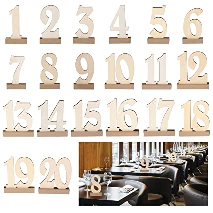 20 Sets Wooden Heart Table Number Freestanding for Wedding Table Decor 1-20