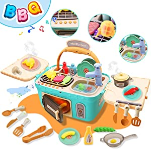 Pussan Kids Kitchen Set for Girls Toddler Kids Kitchen Playset Toy for 3-8 Years Old Kids Easter Gifts Play Kitchen Picnic Basket Toys Color Changing Play Food with Music Lights Pretend Toy Play Oven