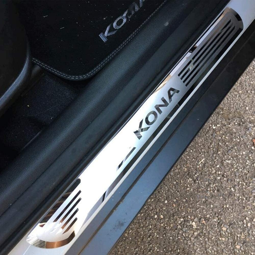 Edelstahl QQY Ultra d/ünn Einstiegsleisten f/ür Hyundai KONA Kauai 2017 2018 T/ürpedal Pedal Kick Plates Threshold Bar Schwellenabdeckung T/ürschweller Schutzstreifen Dekoratives Zubeh/ör