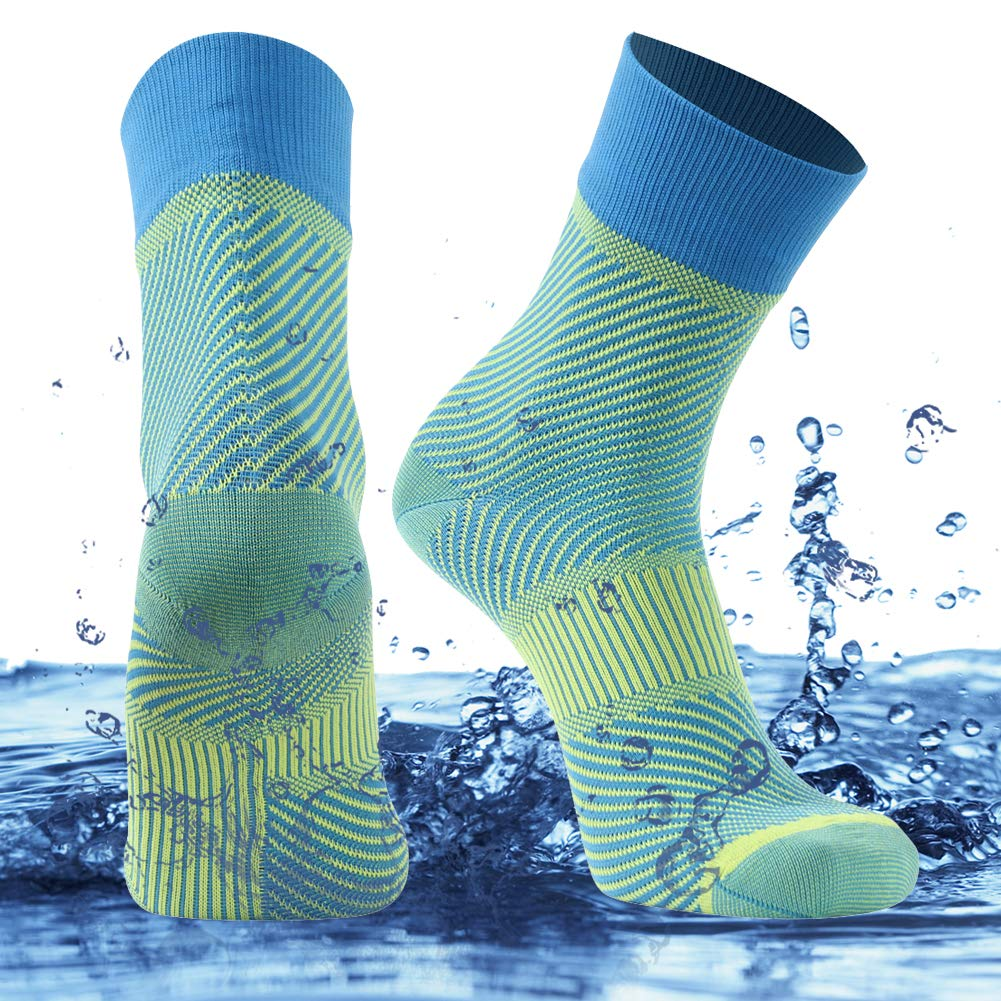 SuMade 100% Waterproof Breathable Socks, Womens Mens Lightweight Mid-calf Ventilated Wicking Cushioned Snug Hiking Wading Kayaking Socks 1 Pair (Blue, Small) by SuMade