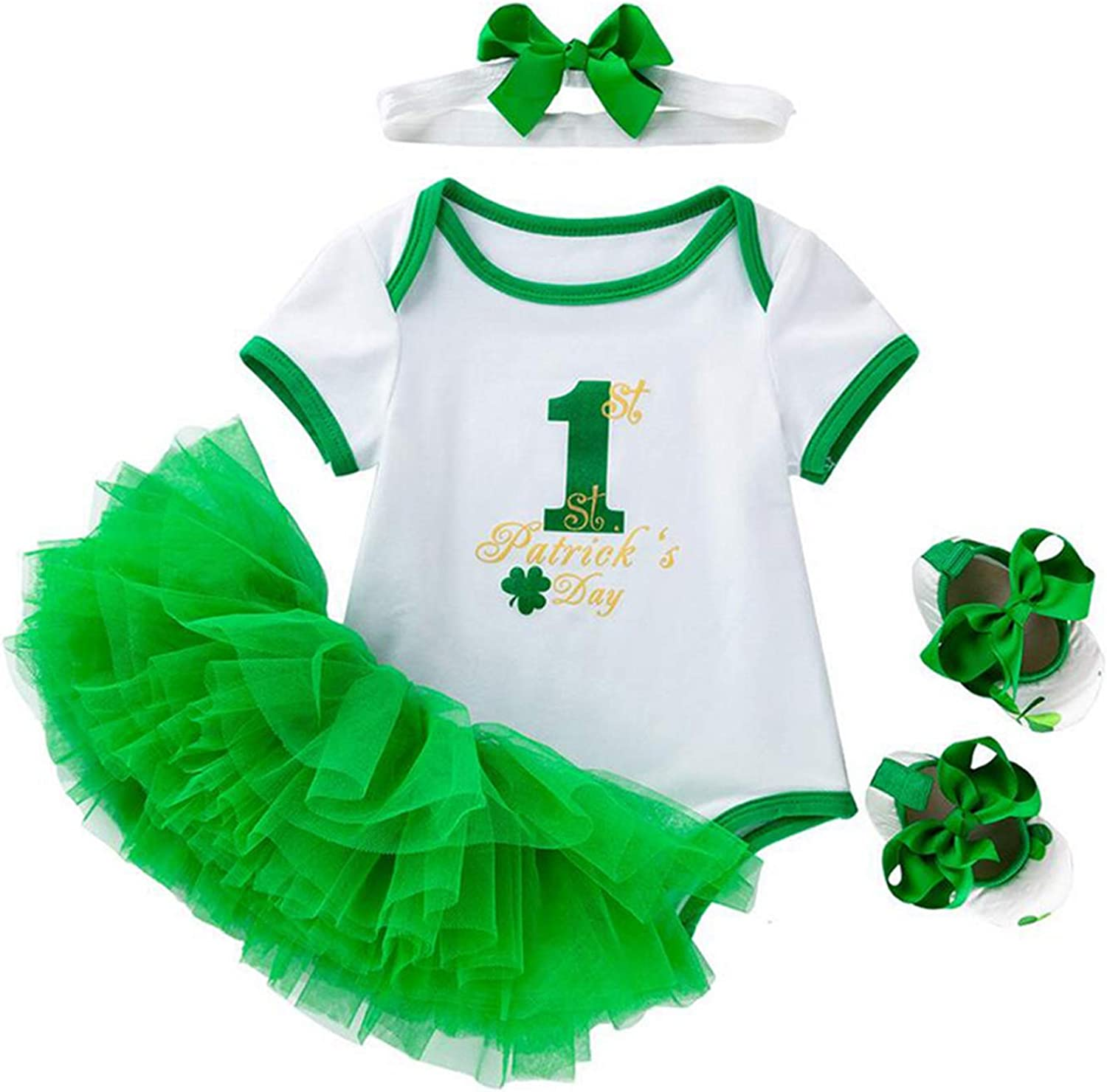 My 1st St Patrick's Day Baby Girl Outfit Romper Bodysuit Tutu Skirt Irish Party 4pcs Clothes Set