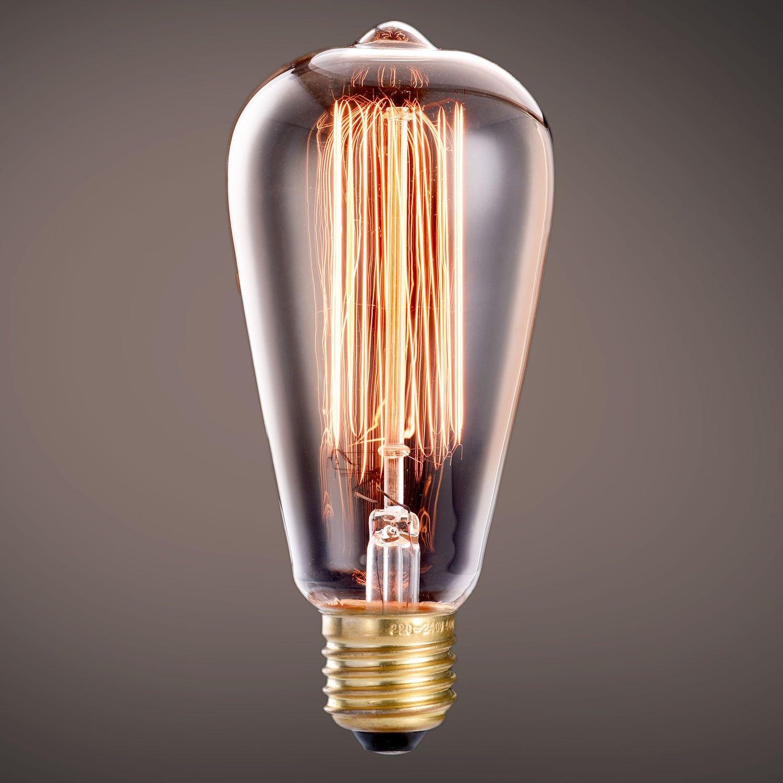 Oak Leaf Incandescent Light Bulbs 40 Watt, Amber Bulb 40W Edison Bulb Vintage Antique Filament Light Bulbs, 2400K Warm White(Amber Glow),Medium Screw Base E26,6 Pack by Oak Leaf (Image #4)