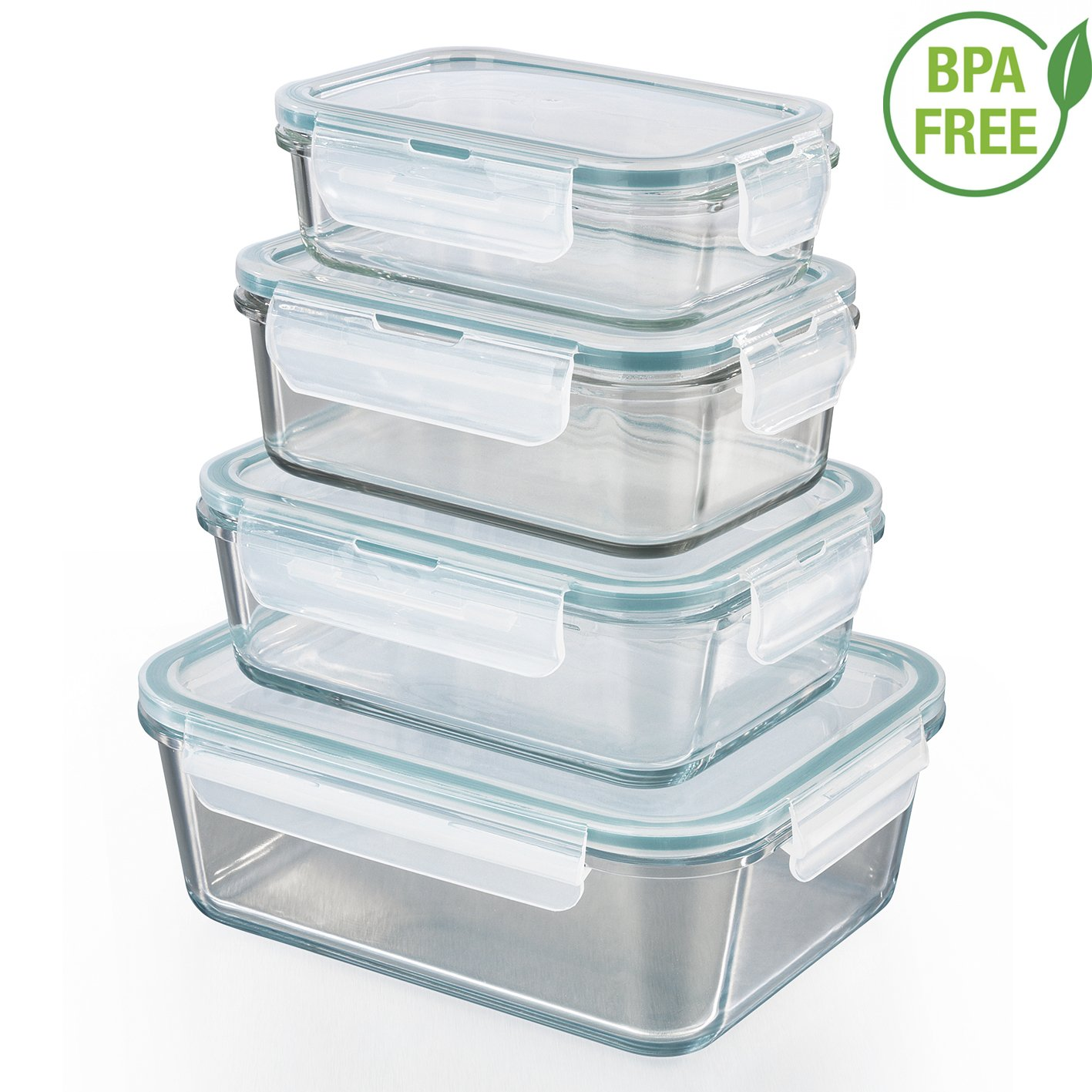 GOURMETmaxx 01821 Glass Food Storage Containers | Set of 4 Klick-It cans with lid | Silicone Sealing Ring | Glass container with lid | emerald