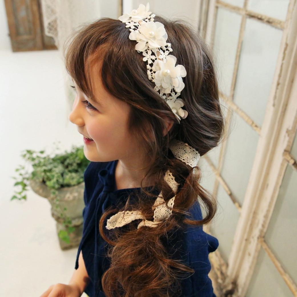 Oyedens Baby M/äDchen Stirnband Spitze Haarband M/äDchen Perle Blume Stirnb/äNder Wei/ß
