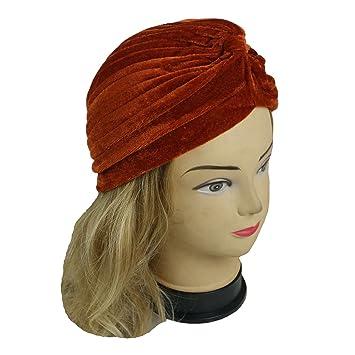 b41f491861b Amazon.com   Lady Stretchy Turban Head Wrap Band Chemo Bandana Hijab  Pleated Indian Cap Hat (Velvet Orange)   Beauty