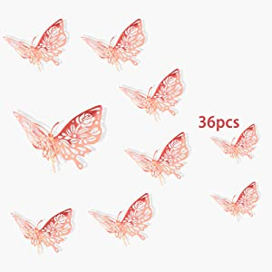 Uhitmi 36Pcs Butterfly Wall Decor Decals, 3D Butterfly Room Decor Art Stickers for Kids Bedroom Nursery, Rose Gold Butterfly, 3 Sizes(Style Champagne Rose)