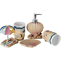 JYXR 5 Piece Bathroom Accessories Set, 3D Beach Style Bath Ensemble, Resin Bath Set Collection Features Liquid Soap…