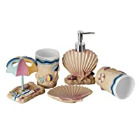 JYXR 5 Piece Bathroom Accessories Set, 3D Beach Style Bath Ensemble, Resin Bath...