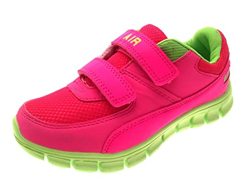 1714ea541017 Kids Boys Girls Sports Trainers Velcro Pumps Flat Running Shoes Childrens  Pink Lime Size UK