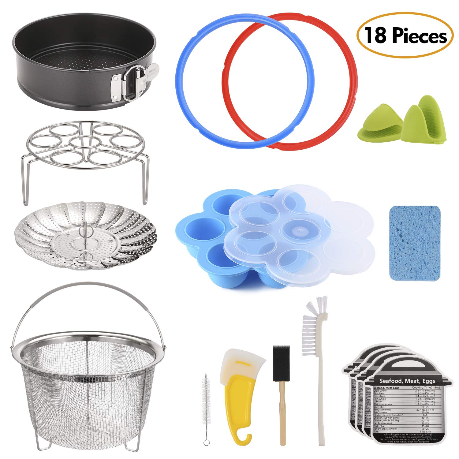 18-Piece Pressure Cooker Accessories Set for Instant Pot 6 Qt, Steamer Basket, Nonstick Springform Pan, Egg Steam Rack, Egg Bites Mold, Mini Mitt, Sealing Rings, Magnetic Cheat Sheets, Cleaning Set by Aozita