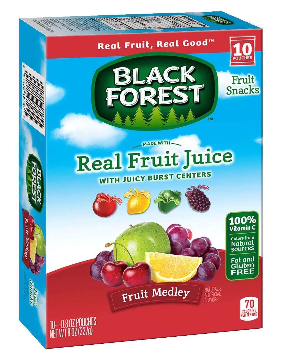 Black Forest Fruit Medley Fruit Snacks Juicy Burst Centers, 0.8 Oz Pouches (Box of 80 pouches)