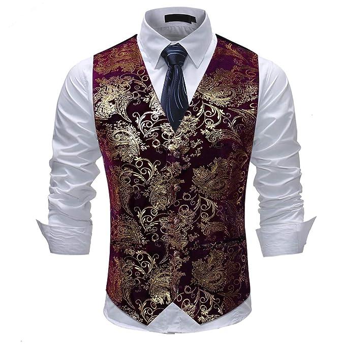 Chaleco de Traje de Paisley para Hombre Chaleco de un Solo Pecho Vestido Slim Fit Botón Abajo Formal