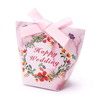 Wedding Favor Gift Boxes Baby Shower Party Decoration Candy Ribbon Popcorn