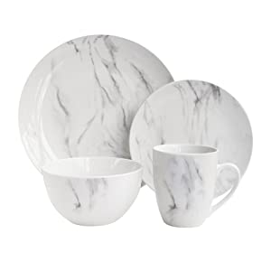 "American Atelier 7020-16-RB Marble 16 Piece Round Dinnerware Set, 10.5x10.5"", White/Gray"