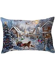 "BHYDRY Christmas Pillow Cases Rectangle Linen Sofa Cushion Cover Home Decoration(30cmX50cm/11.8"" X19.7,E)"