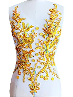 Pure Hand Made Crystals Patches Gold Sew on Rhinestone Applique Knit Trim  50 x 30 cm 506b4378cfdc