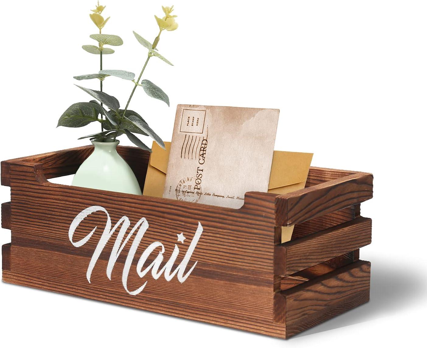 VOOWO Wooden Mail Organizer, Decorative Mail Holder Box, Desktop Wood Mail Organizer Box for Home, Office Letter Holder Organizer