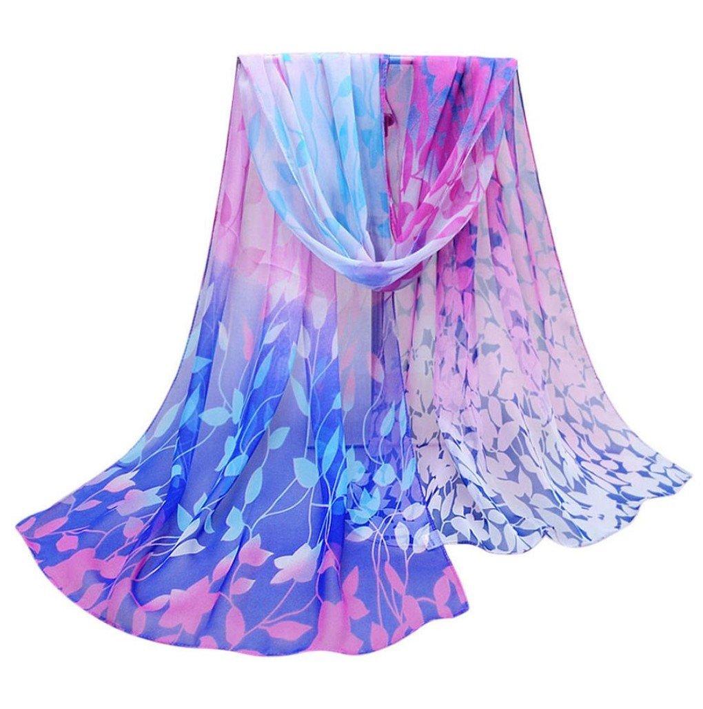 Women Autumn Winter Scarf; Lady Chiffon Silk Scarves Vovotrade (Blue)