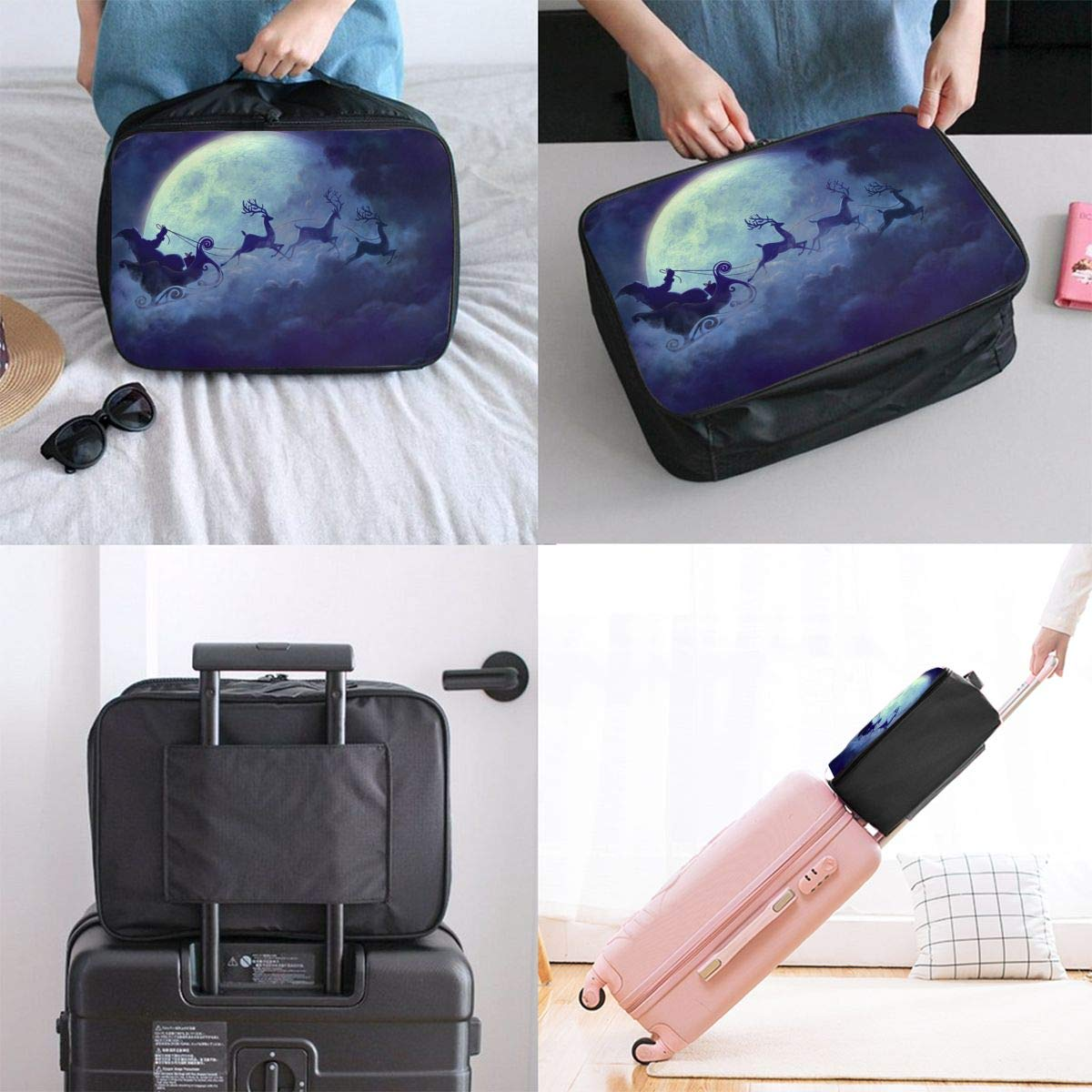 YueLJB Christmas Santa Claus Reindeer Lightweight Large Capacity Portable Luggage Bag Travel Duffel Bag Storage Carry Luggage Duffle Tote Bag