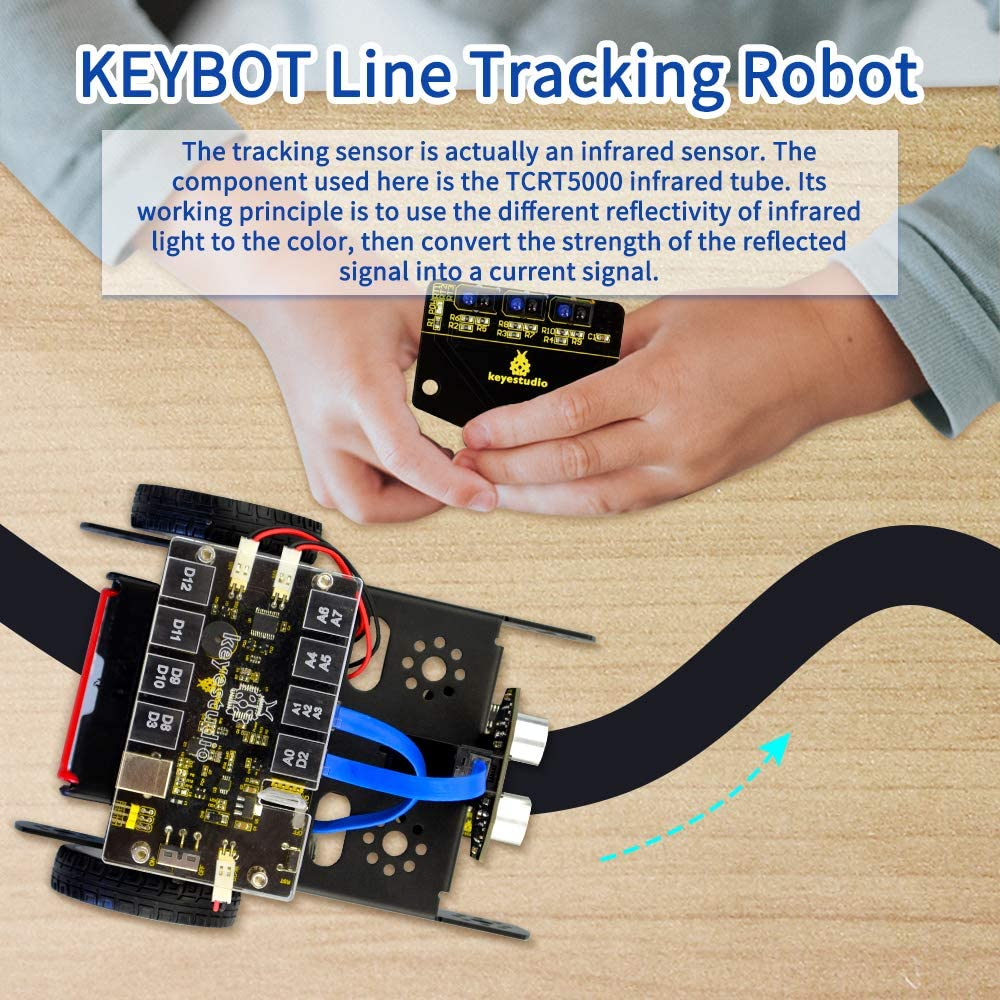 Line Following Avoiding Obstacle with RJ11 Interface KEYESTUDIO Smart Robot Car Starter Kit for Arduino and Mixly Block Code Bluetooth Remote Control Car Build kit