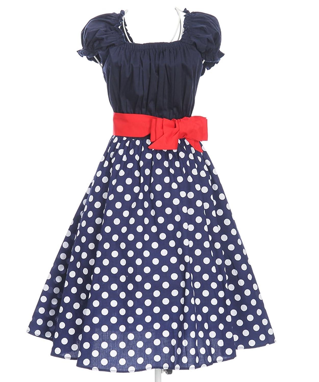 50s Style Swing Dancing Dress Polka Dots Retro Inspired Navy Blue